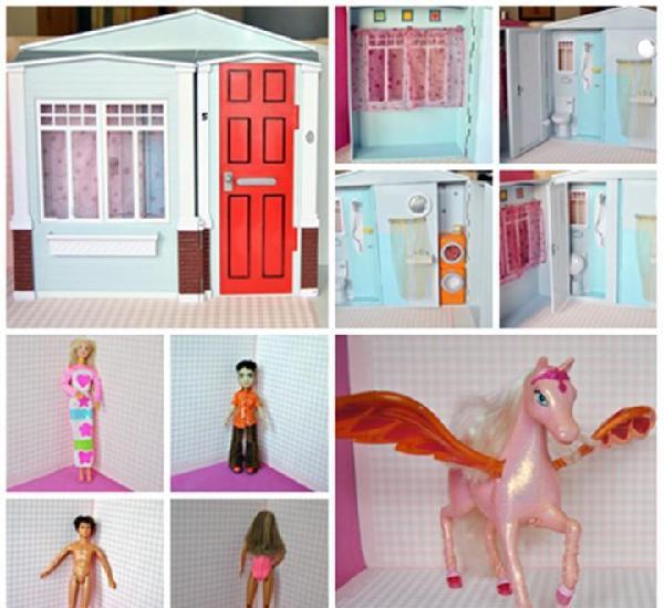 Lote barbie casa sonidos mágicos + pegaso alado + muñecas