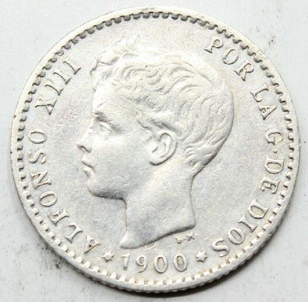 Moneda plata alfonso xiii 1900 50 centimos ebc