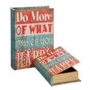 Set 2 caja libro happy rojo dm lona 18x5,50x25cm