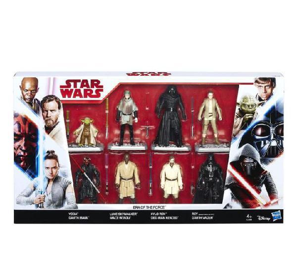 Star wars pack 8 figuras 3,75 era of the force: yoda, rey,