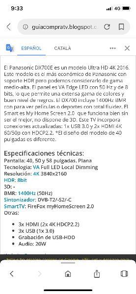 "Smart tv 4k uhd panasonic 58"""