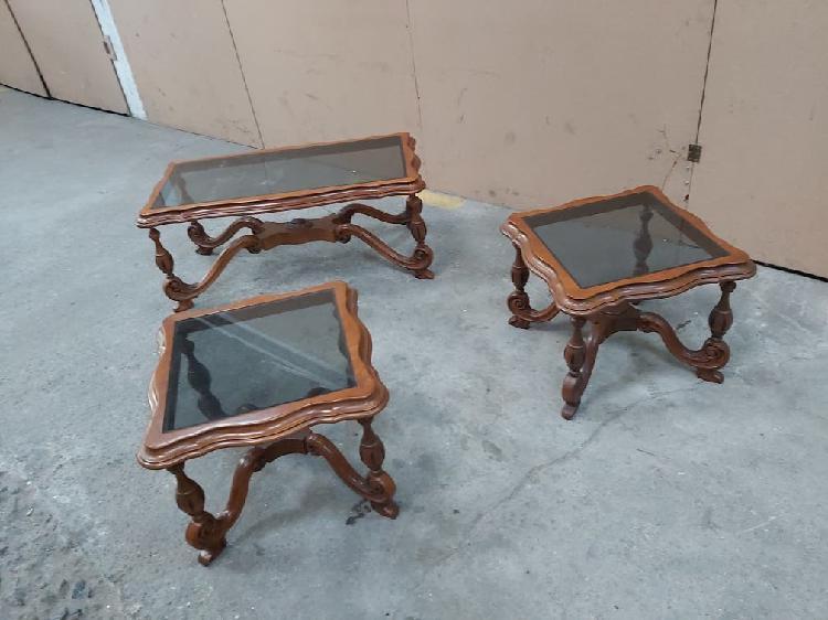 Juego mesas madera