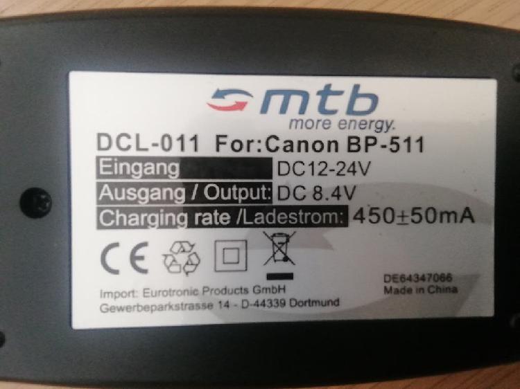 Cargador de baterías canon bp-511