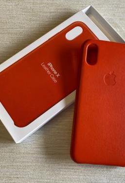 Apple leather case funda iphone x naranja intenso