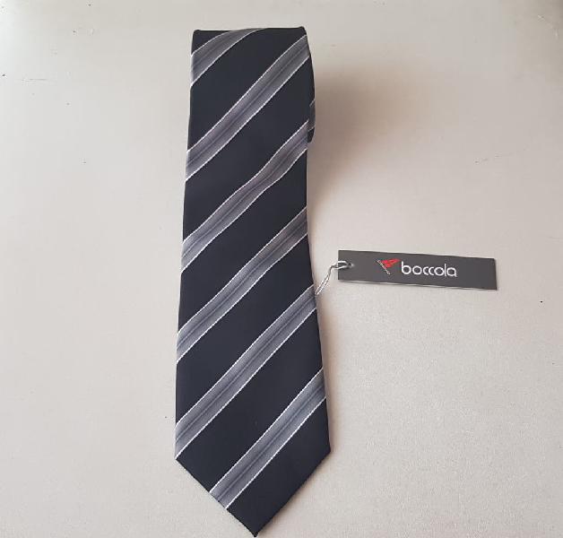 Nueva!! corbata boccola negra y gris rallada