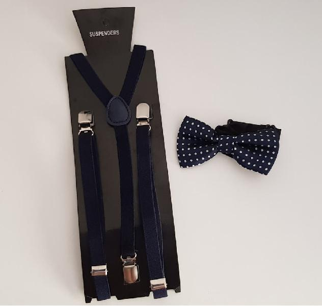Nuevo!! tirantes + pajarita azul marino