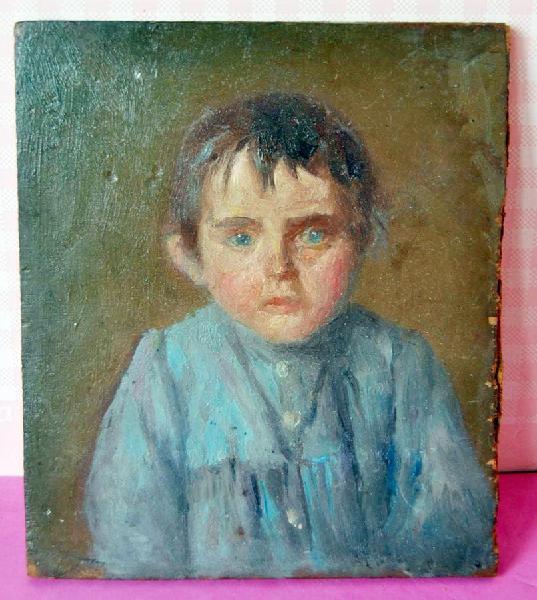 Oleo sobre tabla retrato niño 1973