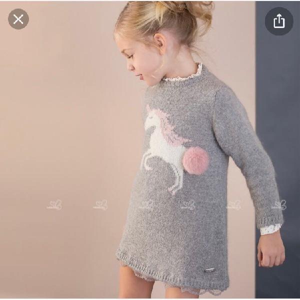 Vestido pili carrera de punto gris unicornio
