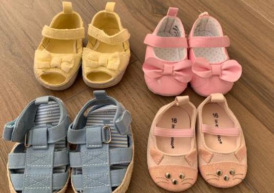 4 pares zapatos bebés tallas 15-17