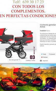 Carrito bebés gemelar color rojo