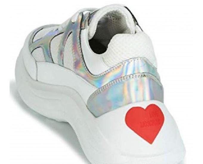 Zapatos de mujer sneaker bianco argento