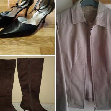 Cazadora, botas y zapatos