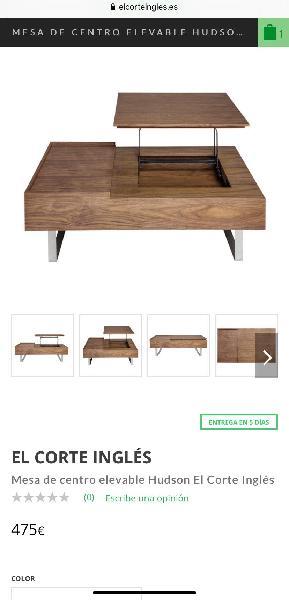 Mesa centro elevable madera nogal