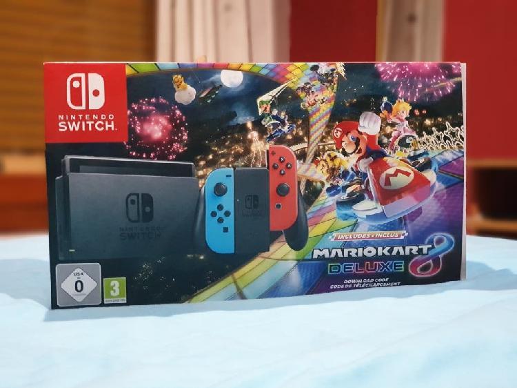 Nintendo switch neon + mariokart 8 deluxe