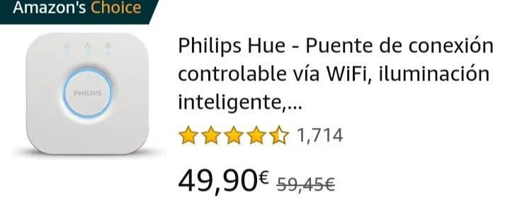 Philips hue bridge (puente) + bombilla blanco cal