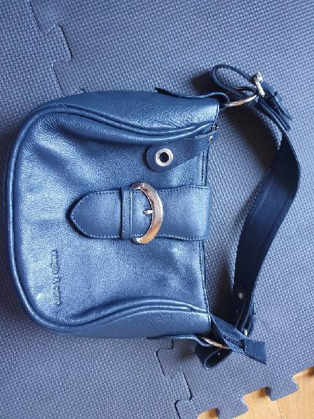 Bolso de mano azul marino, pequeño. piel