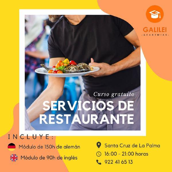 Certificado de profesionalidad: servicios de restaurante