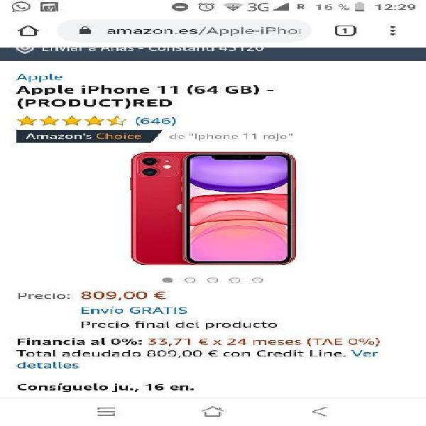 Iphone 11 rojo 64gb (nuevo)