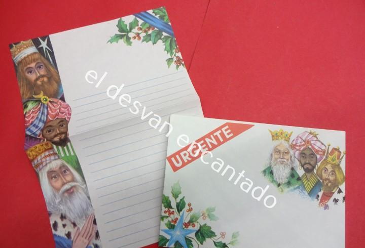 Antigua carta con el sobre para los reyes magos. sin uso