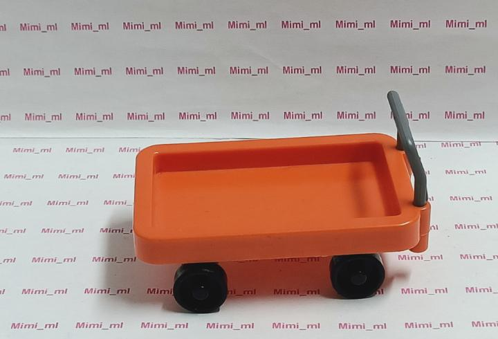 Playmobil carro naranja equipaje carrito estación tren