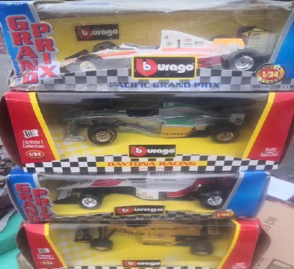 4 coches formula 1 collection 1/24 burago. made in italy