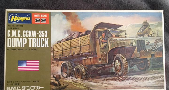 G.m.c. cckw 353 dump truck 1:72 hasegawa maqueta camión