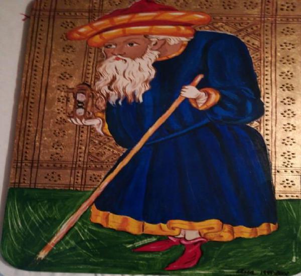 El anciano -ix de los arcanos mayores. original pintado a