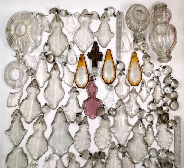 Lote 94 lágrimas de lámpara antigua cristal antiguo