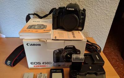 Vendo cuerpo canon 450d + grip canon bg-e5
