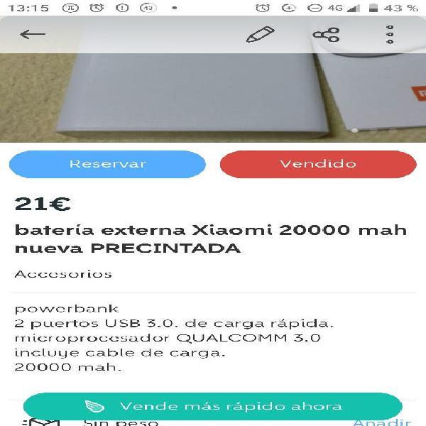 Batería externa xiaomi 20000 mah nueva precintada