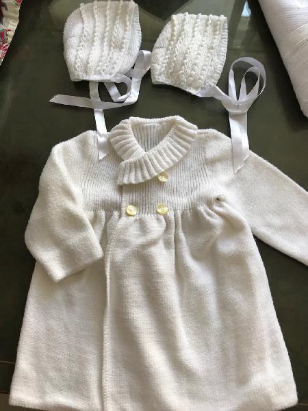 Abrigo lana cruzado blanco desde 6 meses
