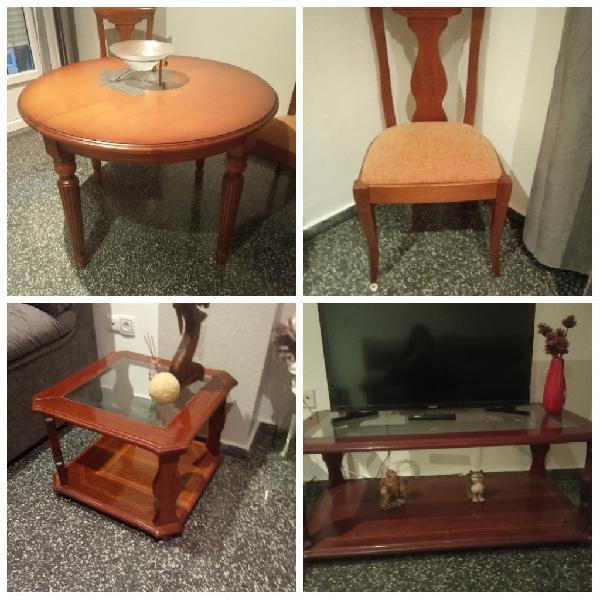 Conjunto de mesas + 6 sillas( madera maciza)