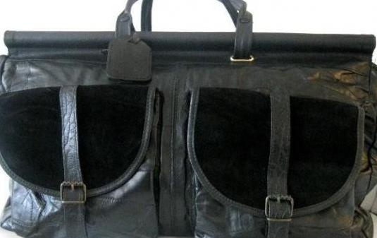 Gran bolsa viaje piel y ante negros italiana nueva