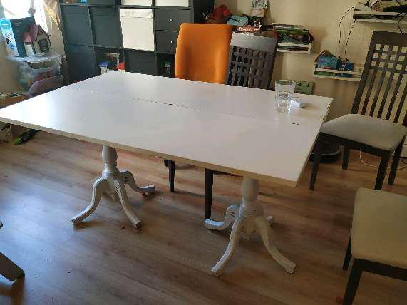 Regalo mesa de comedor plegable blanca