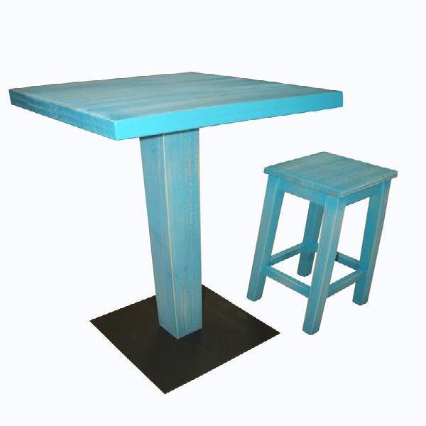 Taburete alto madera, mesas altas, barricas bar