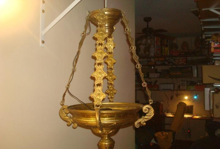Lampara votiva dorada bronce laton dorado