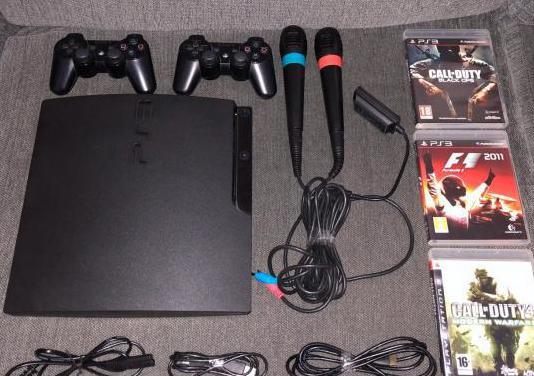 Ps3 slim con juegos, micro, mandos...