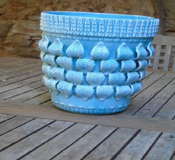 Maceta macetero gran tamaño ceramica manises azul ideal