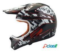 Casco negro y blanco firstracing rc-2 de motocross