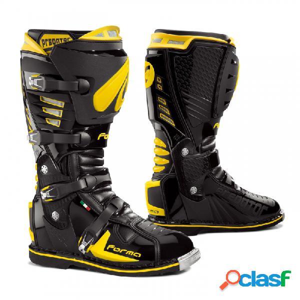Botas largo off-road forma para moto. modelo predator color negro y amarillo.