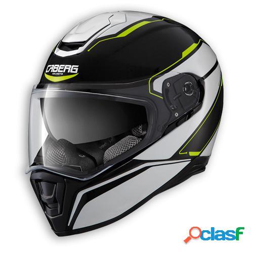 Casco drift tour de caberg. integral para moto. color negro blanco / fluo amarillo