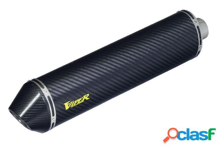 Fibra de carbono oval con tapa de extremo la fibra de carbono tubos de escape para moto kawasaki versys 1000,año 2012 en adelante (marca viper)
