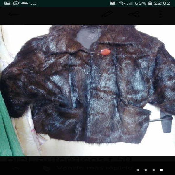 2 chaquetones visón negro marrón t 48..50