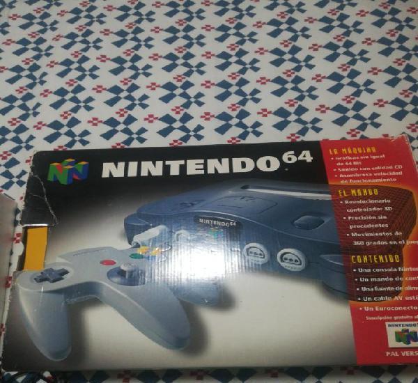 Consola nintendo 64,en caja, con juego de súper mario