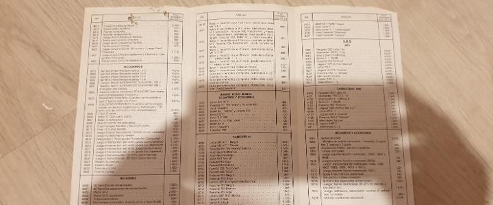 Tarifa de precios venta al publico marzo 1990 folleto