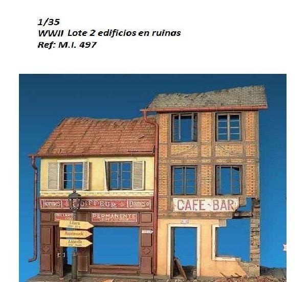 Wwii 2 edificios europeos en ruinas 1/35 accesorios diorama