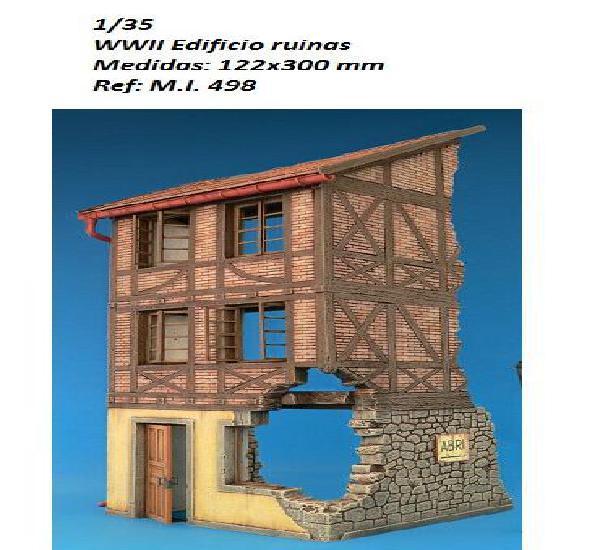 Wwii edificio europeo en ruinas 1/35 accesorios diorama