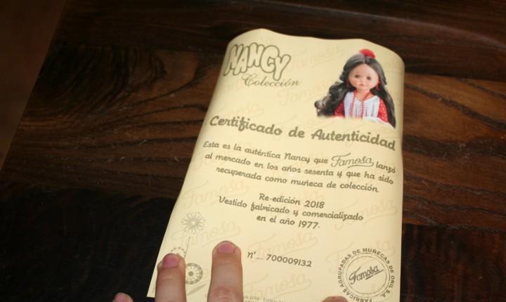 Certificado muñeca nancy