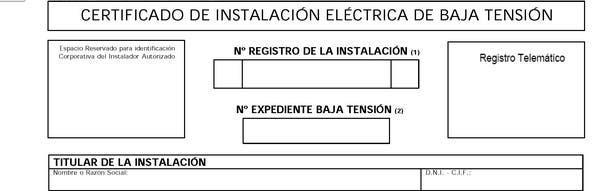Boletín/certificado instalación eléctrica