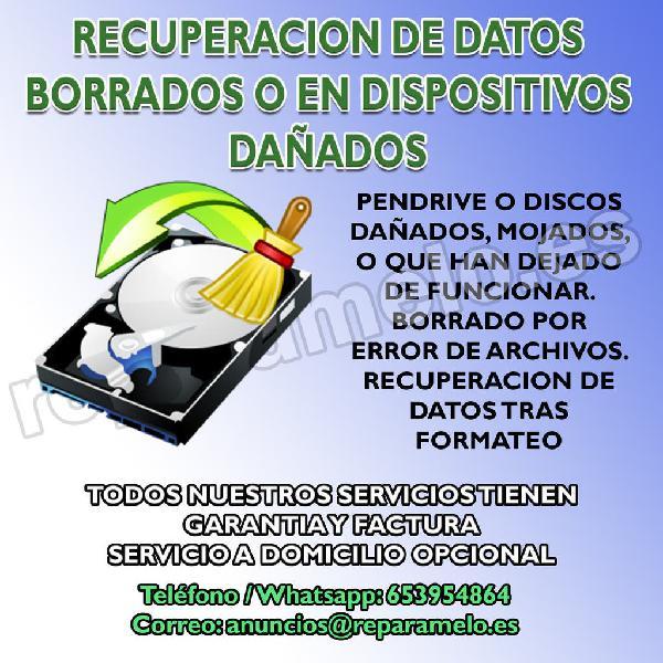 Recuperación datos perdidos o dispositivos dañados